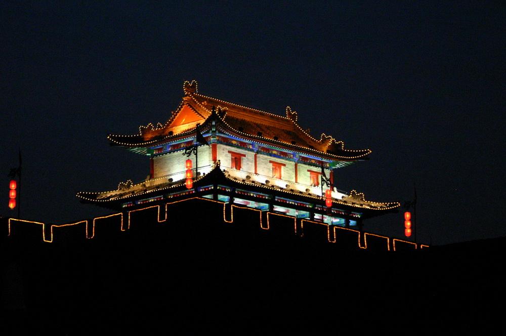 Городская стена Сиань вечером