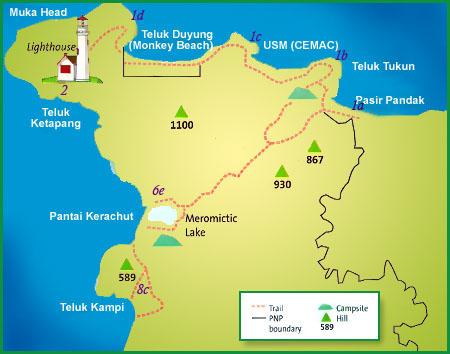 карта пенанг национальный парк