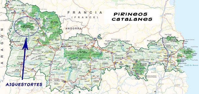 Карта - национальный парк в Пиренеях